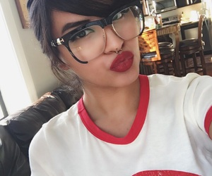 glasses, red lips, and optical image