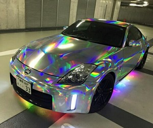car, holographic, and rainbow image