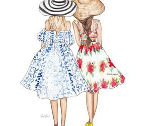 dibujo, dress, and girly image