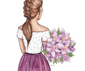 brunette, dibujo, and fashion illustration image