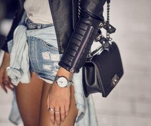 fashion, leatherjacket, and watch image