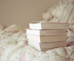 bed, books, and comforter image