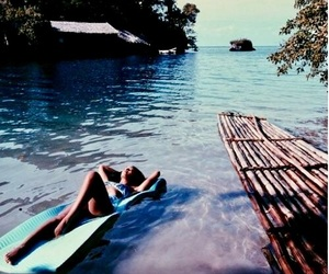 float, river, and relaxing image