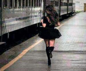 girl running train image