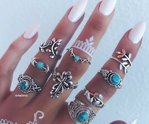 bohemian, white nails, and boho image