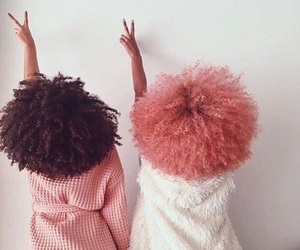 pink, Afro, and black image