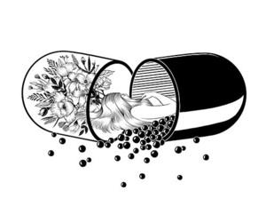 pills, art, and draw image