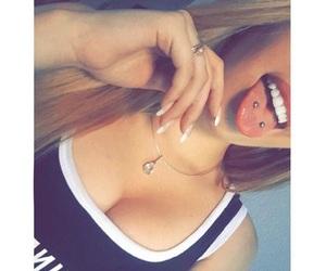 piercing, tongue, and tongue piercings image