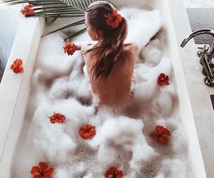 girl, bath, and flowers image