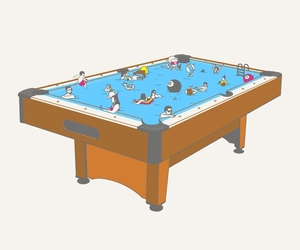 illustration, play on words, and pool table image