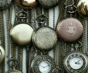 clock, jewelry, and necklaces image