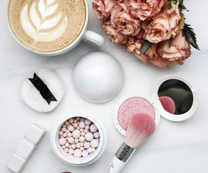 coffee, rose, and beauty image