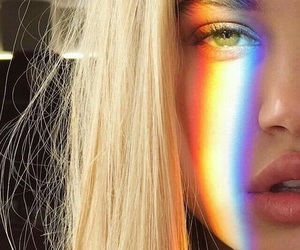 girl, rainbow, and eyes image