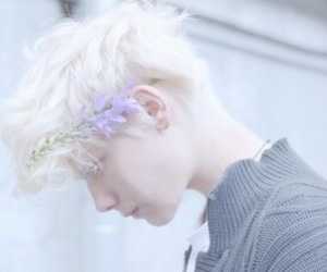 boy, flowers, and pale image