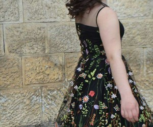 dress, flower, and Prom image
