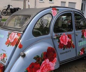 car, flowers, and blue image
