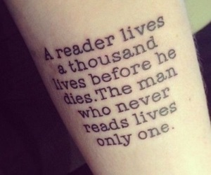 book, tattoo, and reader image
