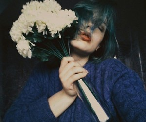 blue, flowers, and hair image