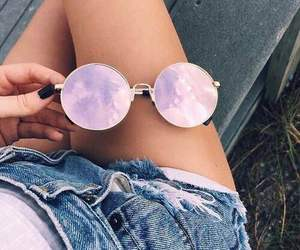 clouds, jeans, and sunglass image