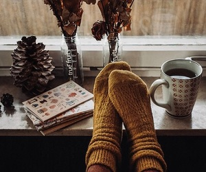 coffee, socks, and lovely image