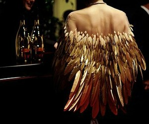 gold, fashion, and feather image