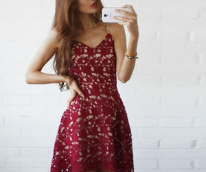 dress, prom dresses lace, and burgundy homecoming dress image
