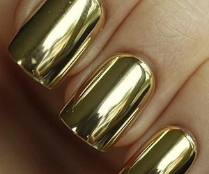 gold, metalic, and nails image