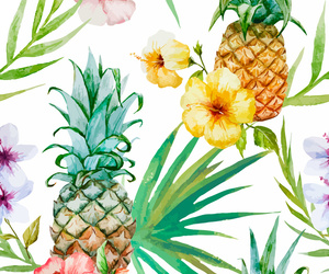 flowers, pineapple, and wallpaper image