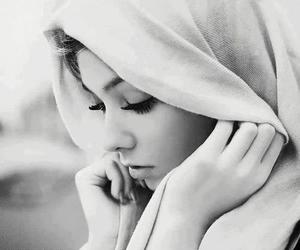 beauty, black and white, and woman image