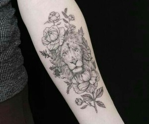 flower, lion, and tatoo image