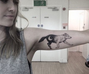 tattoo, wolf, and moon image