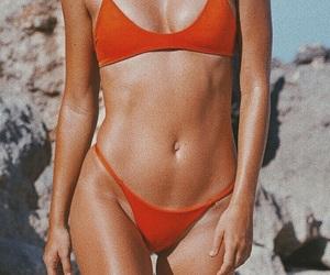 bikini, beach, and orange image