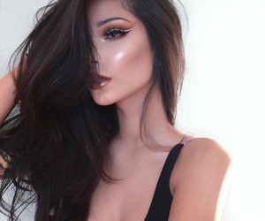 brunette, make up, and makeup image