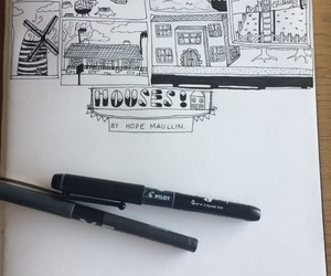 doodles, drawing, and Houses image