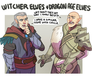 dragon age, the witcher, and dai image