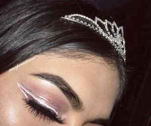 dress, glitter makeup, and makeup goals image