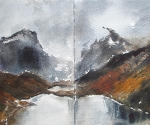 art, artwork, and lake image