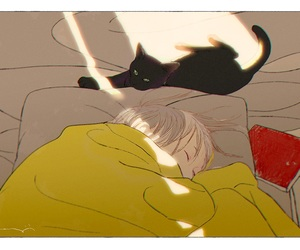 art, cat, and sleep image