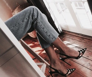 denim, fashion, and heels image