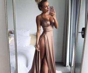 sexy prom dress, long prom dress, and satin prom dress image