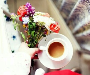 flowers, coffee, and cup image