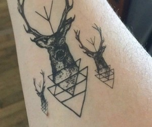 black&white, tattoo, and triangle image