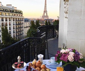 paris, rose, and food image