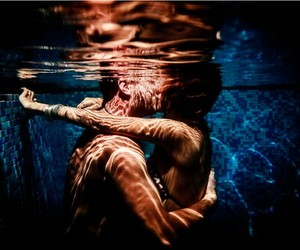 boy and girl, under the water, and love image
