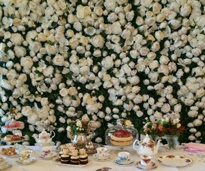 floral, roses, and tea image