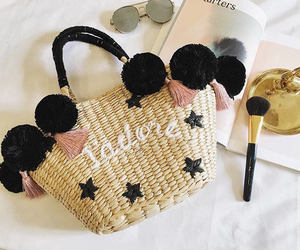 bag, etsy, and straw tote image