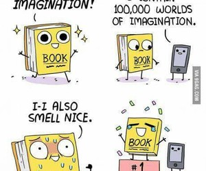 book, funny, and smell image