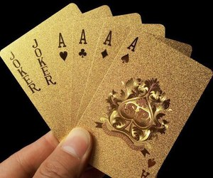 gold, aesthetic, and cards image