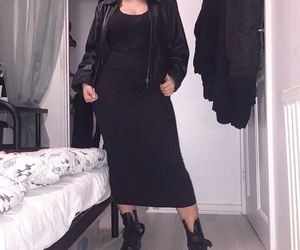 black dress, boots, and choker image