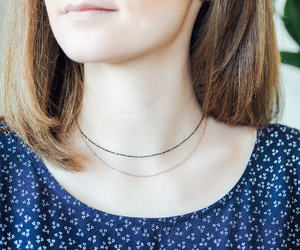 gunmetal chain, etsy, and layered necklace image